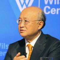 On a mission: Yukiya Amano, director general of the International Atomic Energy Agency, speaks to the press in Washington on Friday. | KYODO