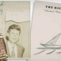 Goodbye waves: This pencil sketch of a sailboat was drawn by U.S. President John F. Kennedy on hotel stationery in Houston on Nov. 21, 1963. It was the last doodle of his life. Also to be sold by New Hampshire-based RR Auction and shown here are an engraved 1941 Bulova timepiece and the earliest known signed photograph of the future president, under the inscription 'Remember me?' | AFP-JIJI