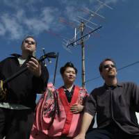 Overground: Ryukyu Underground's Jon Taylor (left) and Keith Gordon with collaborator Mika Uchizato.
