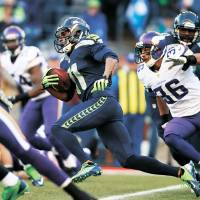This look familiar?: The Seahawks' Percy Harvin returns a kickoff 58 yards for a touchdown against his former Vikings teammates on Sunday in Seattle. The Seahawks beat Minnesota 41-20. | AP