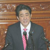Face time: Prime Minister Shinzo Abe addresses a Lower House plenary session earlier this month. | KYODO