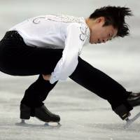 In striking distance: Tatsuki Machida performs his short program during the Cup of Russia on Friday. Machida is in second place. | AFP-JIJI