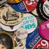 Rainbow nation: Buttons from campaigns for gay rights in the U.S.  are displayed at the National LGBT Museum in Washington, D.C., recently | THE WASHINGTON POST