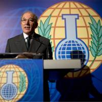 Highest honor: Ahmet Uzumcu, the director general of the Organization for the Prohibition of Chemical Weapons, comments on the body's winning of the Nobel Peace Prize in the Hague on Oct. 11. | AP