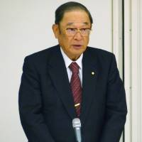 Taking charge: Fujio Cho, who is leading a business mission to China, gives a speech last week in Tokyo. | KYODO