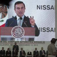 The whole enchilada: Carlos Ghosn, chief executive officer of Nissan Motor Co., speaks Tuesday at the opening ceremony for a new plant in Aguascalientes, Mexico | BLOOMBERG