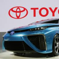 Toyota's FCV concept car is displayed to the media ahead of the opening of the Tokyo Motor Show at the Tokyo Big Sight convention center on Wednesday. | AP