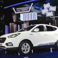 While the 2015 Hyundai Tucson Fuel Cell, a hydrogen-powered electric vehicle, makes its debut in L.A. the same day. | AP