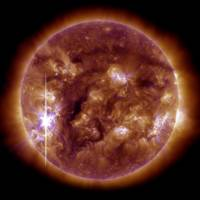 Solar spectacle: This NASA Earth Observatory image shows an X-class solar flare — the largest so far this year — bursting from a large sunspot on Nov. 5 | AFP-JIJI