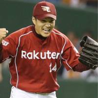 Have a little faith: Tohoku Rakuten reliever Takahiro Norimoto carried his team to a win in Game 5 of the Japan Series despite letting a lead slip late in the game. | KYODO