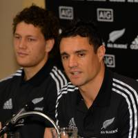Guest appearance: All Blacks flyhalf Daniel Carter speaks at a news conference in Tokyo on Thursday ahead of Saturday's game against Japan. | AFP-JIJI