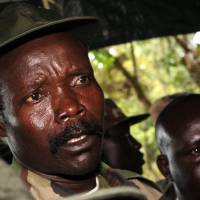 Brutal warlord: Joseph Kony, the leader of the Lord's Resistance Army, answers journalists' questions following a meeting with U.N. humanitarian chief Jan Egeland at Ri-Kwangba in southern Sudan, in November 2006 | AP