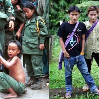 Brothers in arms: Luther Htoo (left) and his brother, Johnny, are seen at their jungle camp in Myanmar, and 14 years later in western Thailand. When they were kids, the twins were bulletproof and invulnerable to land mines, or so went the story that briefly made them famous as hundreds of guerrillas worshipped them in the southeastern jungles of Myanmar. Over a decade later, their God's Army is no more, and the twins' greatest accomplishment may be that both are still alive | AP
