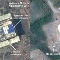 Under construction: This combination of satellite images taken by Astrium on Nov. 18 (left) and Sept. 16 and annotated and distributed by 38 North shows what appears to be a rocket assembly building and launch control center at the Tonghae site, located on North Korea's northeast coast. | AP
