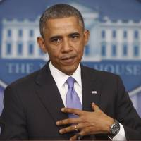 Healthy discussion: President Barack Obama speaks about his signature health care law on Thursday at the White House in Washington. | AP
