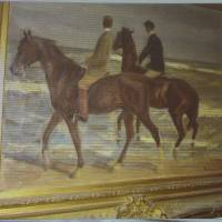 Nazi loot: A painting by Max Liebermann entitled 'Zwei Reiter am Strande' ('Two riders on the beach') is projected on a screen during a news conference in Augsburg, Germany, on Tuesday. It is part of a hoard of more than 1,400 artworks found last year at a Munich apartment that includes previously unknown pieces by such artists as Marc Chagall | AP