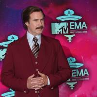 'By the beard of Zeus': Actor Will Ferrell, dressed as the character Ron Burgundy from the film 'Anchorman,' poses for photographers upon arrival at the 2013 MTV Europe Music Awards, in Amsterdam on Nov. 10. | AP