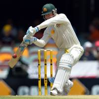 Competitive fire: Australia's Michael Clarke plays a shot during day three of the first Ashes test between England and Australia at the Gabba Cricket Ground in Brisbane, Australia, on Saturday. | AFP-JIJI