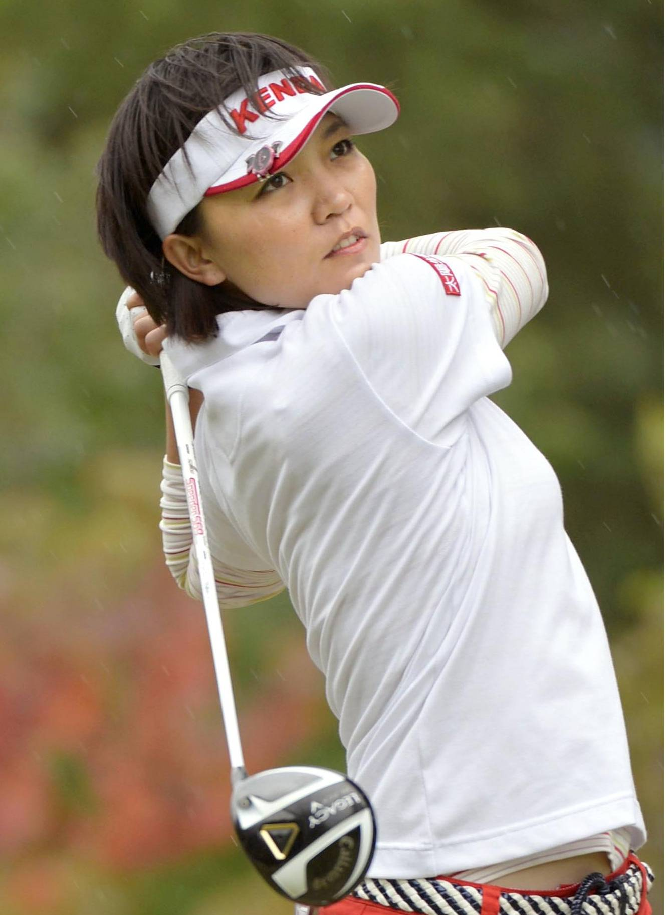 Big hitter: Taiwan's Teresa Lu hits a tee shot during the Mizuno Classic in Shima, Mie Prefecture, on Sunday. | KYODO