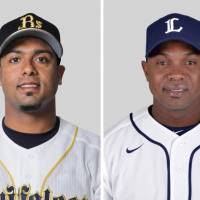 Changing of the guard: The Orix Buffaloes have identified Esteban German (right) as the player to replace Aarom Baldiris (left) if the Venezuelan does not stay with the team. | KYODO
