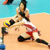 In position: Japan's Risa Shinnabe digs the ball on Tuesday night against Russia in the teams' FIVB Women's Grand Champions Cup match in Nagoya. Japan defeated Russia in four sets | FIVB