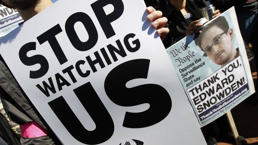 Security vs. privacy: Demonstrators protest outside of the U.S. Capitol in Washington during an Oct. 26 rally to demand that Congress investigate the National Security Agency's mass surveillance programs. | AP