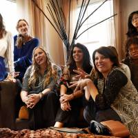 High attitudes: Kathy Korman Frey (foreground) and others make faces for a snapshot as they watch the Hot Mommas Project Awards on Saturday in Washington. From left: Sonia Ledwith, Suki Howard, Rachel Eberhard, Francisca Alonso, Korman Frey, Ify Ofulue and Christianna Pyo. Hannah Friedman is obstructed. | THE WASHINGTON POST