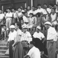 Silence is golden: Yasujiro Ozu (far right) attends the shooting of a scene during the filming of 'Tokyo Story.' | WIKICOMMONS