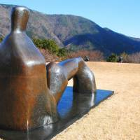 Henry Moore's 'Reclining Figure: Arch Leg' (1969-70) regards the mountain backdrop to the Open-Air Museum. | CHRIS BAMFORTH PHOTO