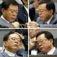 Skewered: Tokyo Gov. Naoki Inose is grilled during a committee session of the Tokyo Metropolitan Assembly on Tuesday. | KYODO