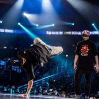Breaking good: Breakdancer Noritoshi 'Nori' Kikuchi (left) competes against South Korean breakdancer Wing at last weekend's Red Bull BC One breakdancing competition. | THE EVENT WAS WON BY SOUTH KOREAN DANCER HONG 10.