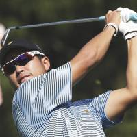 Hideki Matsuyama  tees off during a practice round for the Presidents Cup at Muirfield Village in October.    AP