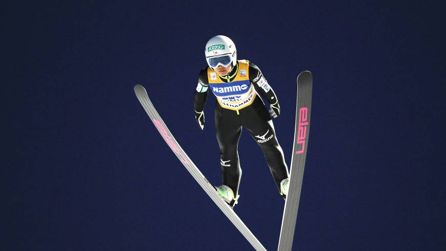Take to the skies: Sara Takanashi competes in a World Cup ski jump event in Lillehammer, Norway, earlier this month.