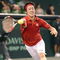Kei Nishikori  plays a shot during Japan's Davis Cup World Group playoff against Colombia at Ariake Colosseum in September.    KYODO