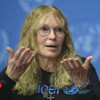 Farrow, a UNICEF goodwill ambassador, speaks about her mission to the Central African Republic during a news conference at the European headquarters of the United Nations in Geneva on Nov. 14. | AP