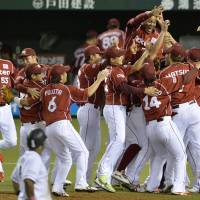 Mission hasn't changed: The Eagles will most likely defend their Pacific League and Japan Series titles without Masahiro Tanaka in the fold.   KYODO