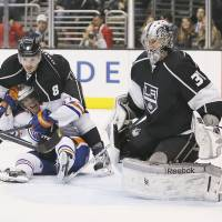 King for a day: Rookie goaltender Martin Jones has stood tall between the pipes for Los Angeles in the absence of the Kings' regular goalie, former Conn Smythe winner Jonathan Quick. | AP