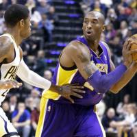 Wear and tear: Lakers star Kobe Bryant is expected to be sidelined for six weeks due to a small fracture in his left knee.   AP