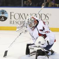 Stop right there: Capitals goalie Philipp Grubauer saves a shot during the second period on Sunday.   AP