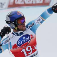 Eat my dust: Aksel Lund Svindal reacts after crossing the finish line during the Val Gardena super-G on Friday. Svindal earned his 24th career victory. | AP