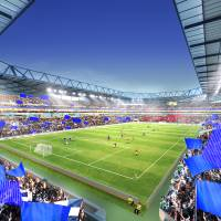 Community support: Local businesses and Kansai residents have shelled out cash to help the Gamba Osaka raise money for a new stadium, which is shown in this artist rendering. | STADIUM BOKIN DANTAI PHOTO