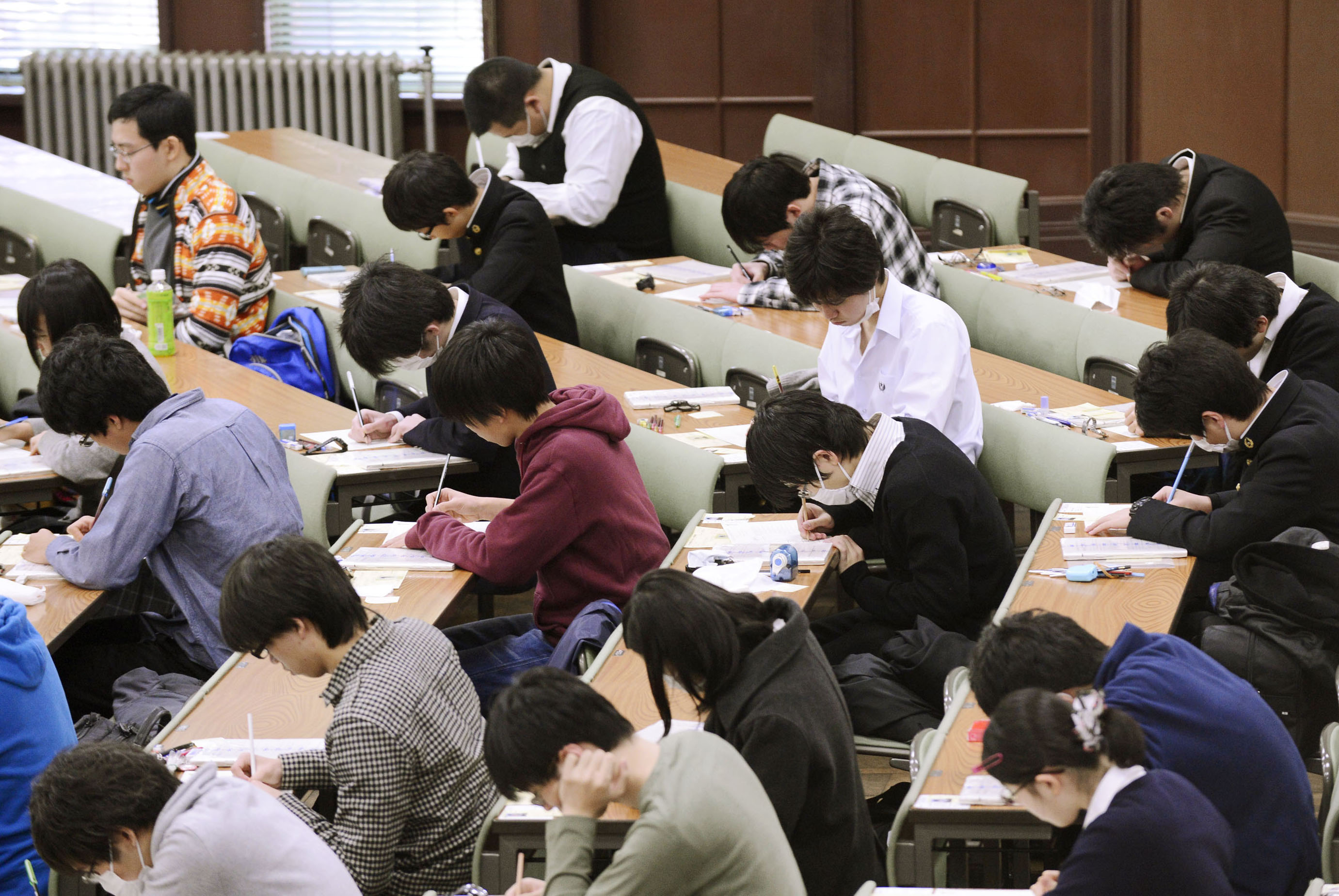 By the book: Applicants take the 'center' standardized exam at the University of Tokyo's Hongo campus in January.   KYODO