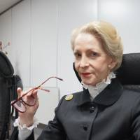 Keeping watch: Barbara Judge, deputy chairwoman of Tokyo Electric Power Co.'s nuclear reform monitoring committee, is interviewed at the utility's headquarters Tuesday. | KAZUAKI NAGATA