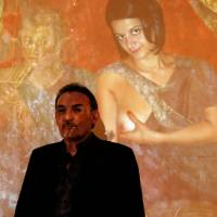 Politically incorrect: Antonio Manfredi, director of the Casoria Contemporary Art Museum, gives a slide show Thursday. | AFP-JIJI