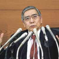 Anti-deflationary: Bank of Japan Gov. Haruhiko Kuroda on April 4 begins his campaign to end 15 years of falling prices by doubling monthly bond purchases. | BLOOMBERG