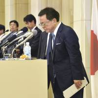 Bowing out: Tokyo Gov. Naoki Inose bows at a news conference on Dec. 19 after announcing that he will resign.   YOSHIAKI MIURA