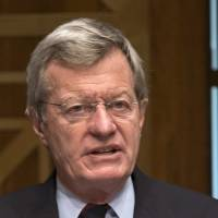 Tough on trade: Senate Finance Committee Chairman Sen. Max Baucus speaks on Capitol Hill on April 17. | AP