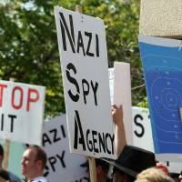 Calling their Bluffdale: Several hundred protesters demonstrate July 4 outside a National Security Agency data center that is being built in Bluffdale, Utah.   BLOOMBERG