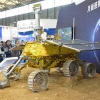 Hare it is: A model of the Jade Rabbit lunar rover is displayed at the China International Industry Fair 2013 in Shanghai on Nov. 5. | AFP-JIJI