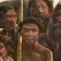 Old relations: This illustration provided by Madrid Scientific Films shows Sima de los Huesos hominins who are estimated to have lived approximately 400,000 years ago during the Middle Pleistocene.   AP